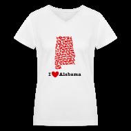 T-Shirts ~ Women's V-Neck T-Shirt ~ I Love Alabama V-Neck