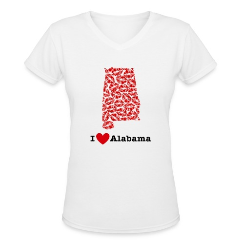 I Love Alabama V-Neck - Women's V-Neck T-Shirt
