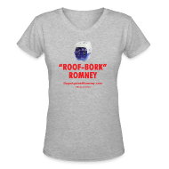Women's T-Shirts ~ Women's V-Neck T-Shirt ~ Official Dogs Against Romney