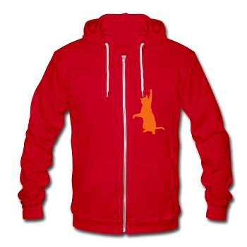 Cat playing - Unisex Fleece Zip Hoodie by American Apparel