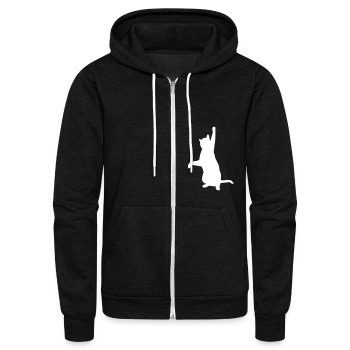 Cat playing with cords of hoodie. - Unisex Fleece Zip Hoodie by American Apparel