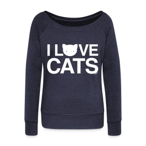 I Love Cats - Women's Wideneck Sweatshirt