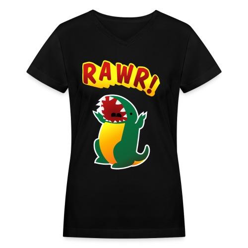 Ladies V-Neck : RAWR - Women's V-Neck T-Shirt