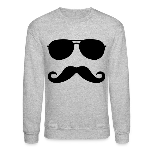 Mustache And Glasses - Gray - Crewneck Sweatshirt