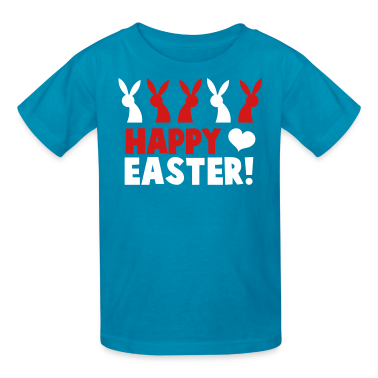 Happy EASTER! with a line of rabbits love heart Kids' Shirts