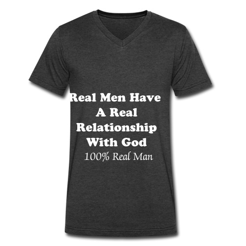 Real Man Signature 1 - Men's V-Neck T-Shirt by Canvas
