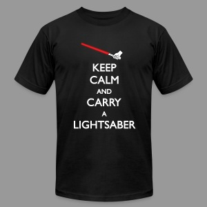 Keep Calm Red Lightsaber - Men's T-Shirt by American Apparel