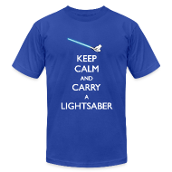T-Shirts ~ Men's T-Shirt by American Apparel ~ Keep Calm Blue Lightsaber