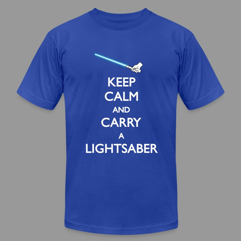 Keep Calm Blue Lightsaber - Men's Fine Jersey T-Shirt
