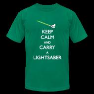 T-Shirts ~ Men's T-Shirt by American Apparel ~ Keep Calm Lightsaber Green