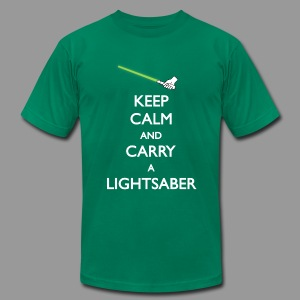 Keep Calm Lightsaber Green - Men's T-Shirt by American Apparel