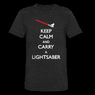 T-Shirts ~ Unisex Tri-Blend T-Shirt ~ Keep Calm Lightsaber Red Vintage