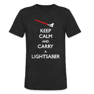 T-Shirts ~ Unisex Tri-Blend T-Shirt ~ Keep Calm Lightsaber Red Vintage