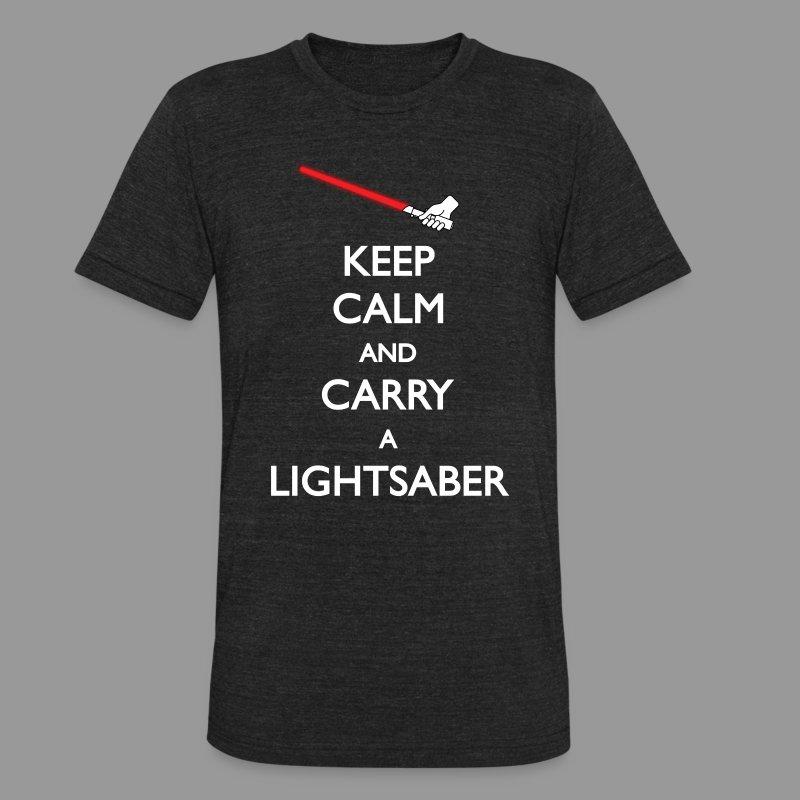 Keep Calm Lightsaber Red Vintage - Unisex Tri-Blend T-Shirt