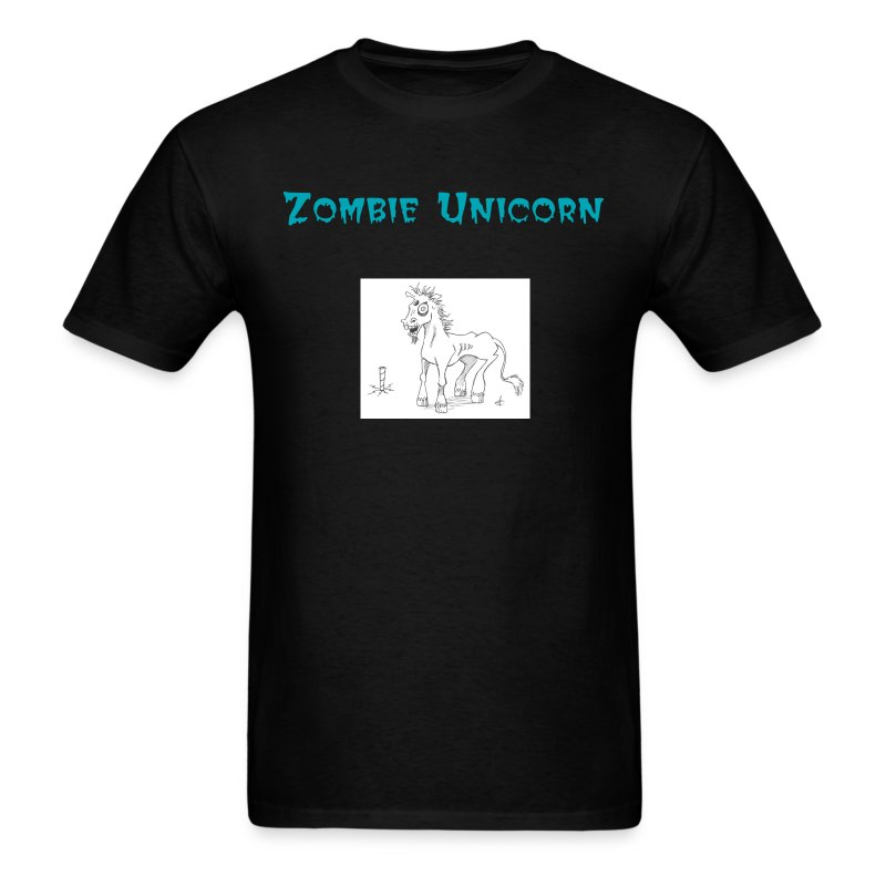Zombie Unicorn with Text - Men's T-Shirt