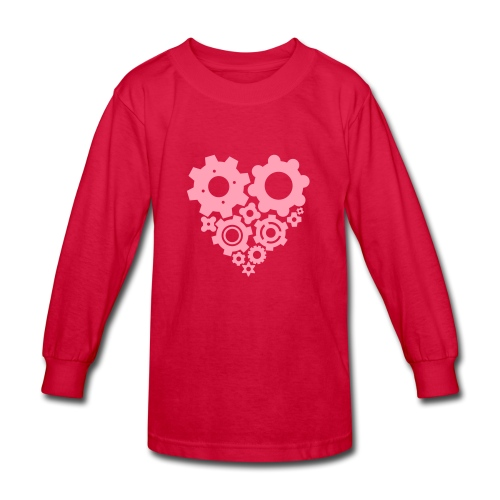 Pink Gear Heart - Pick your own shirt color! - Kids' Long Sleeve T-Shirt