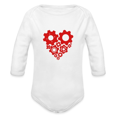Red Gear Heart - Pick your own shirt color! - Organic Long Sleeve Baby Bodysuit