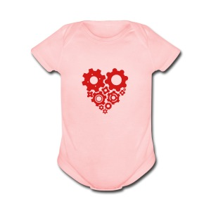 Red Gear Heart - Pick your own shirt color! - Short Sleeve Baby Bodysuit