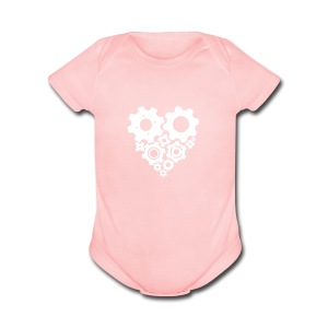 White Gear Heart - Pick your own shirt color! - Short Sleeve Baby Bodysuit