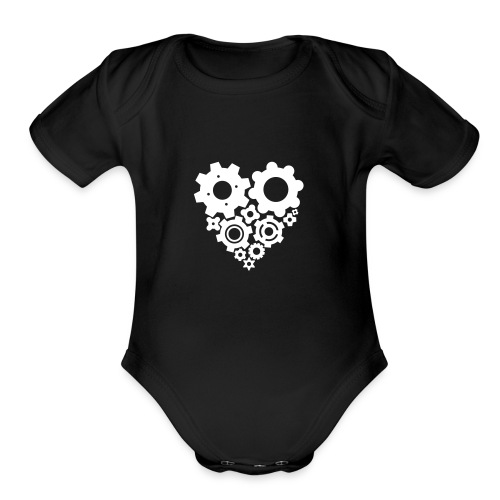 White Gear Heart - Pick your own shirt color! - Organic Short Sleeve Baby Bodysuit