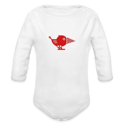 Red Drillbot - Pick your shirt color! - Organic Long Sleeve Baby Bodysuit
