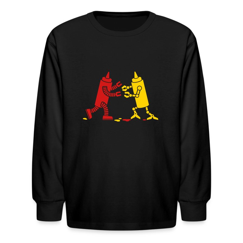 Black Ketchup vs Mustard - Kids' Long Sleeve T-Shirt
