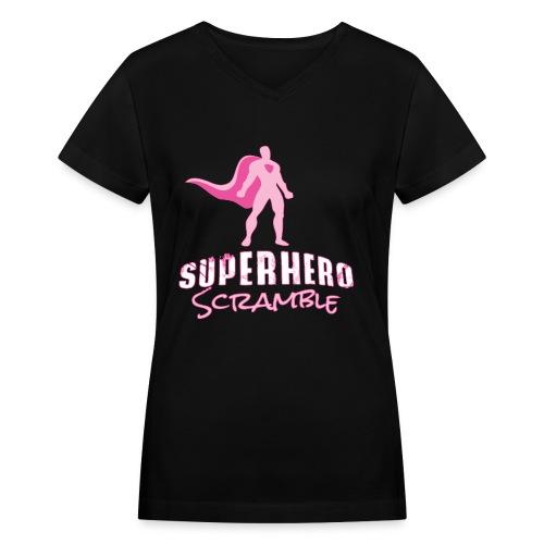Classic Logo - Pink - Women's V-Neck T-Shirt