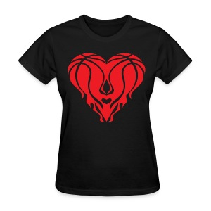 Womens Miami Baseketball Heart Shirt - Black  - Women's T-Shirt