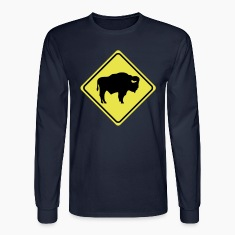 warning sign buffalo bison 2col Long Sleeve Shirts