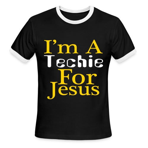 I'm a Techie For Jesus Black & White Ringer T - Men's Ringer T-Shirt