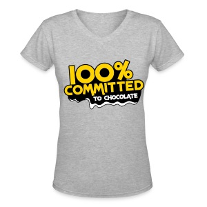 100% Committed to Chocolate (Women's) - Women's V-Neck T-Shirt