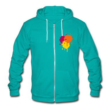 Three bright color spots in graffiti style Zip Hoodies/Jackets