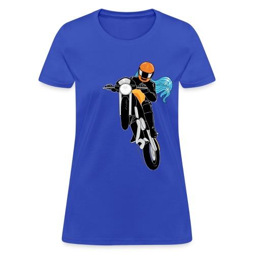 Motorcycle Wheelie on Blue - Women's T-Shirt