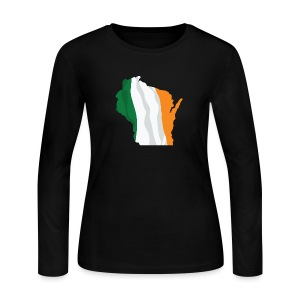Wisconsin Irish Flag - Women's Long Sleeve Jersey T-Shirt