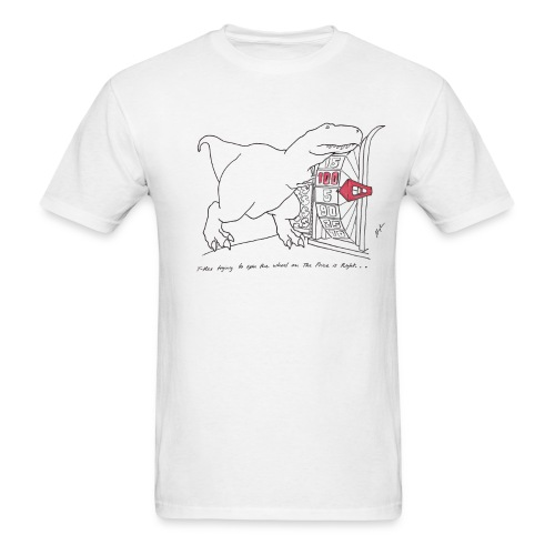 T-Rex Spinning The Wheel (Basic Tee) - Men's T-Shirt