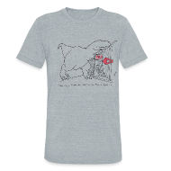 T-Shirts ~ Unisex Tri-Blend T-Shirt ~ T-Rex Spinning The Wheel (Am Apparel)