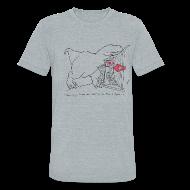T-Shirts ~ Unisex Tri-Blend T-Shirt ~ T-Rex Spinning The Wheel (Am Apparel)