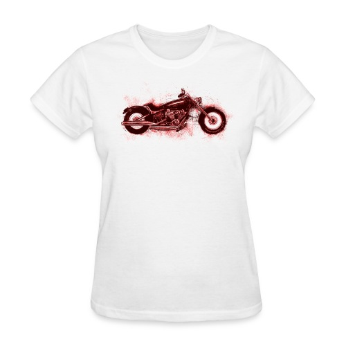 Red Harley Sketch on White - Women's T-Shirt