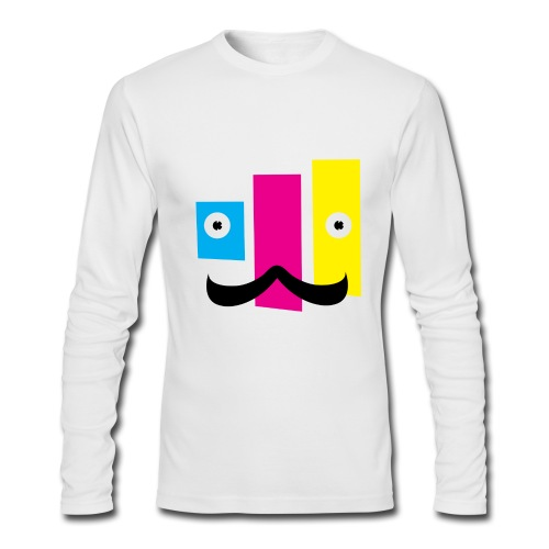 Men's Long Sleeve T-Shirt by Next Level - printing,print,neat,mustache,graphic design,funny,fella,facial hair,dude,design,color,cmyk,art,Sweet,Moustache,Guy,Fun,Cool