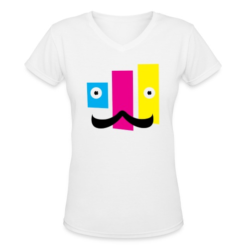 Women's V-Neck T-Shirt - printing,print,neat,mustache,graphic design,funny,fella,facial hair,dude,design,color,cmyk,art,Sweet,Moustache,Guy,Fun,Cool
