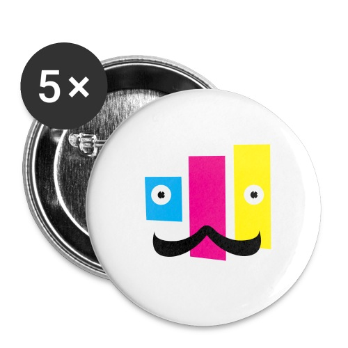 Buttons small 1'' (5-pack) - printing,print,neat,mustache,graphic design,funny,fella,facial hair,dude,design,color,cmyk,art,Sweet,Moustache,Guy,Fun,Cool