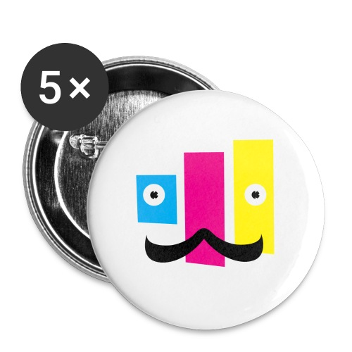 Buttons large 2.2'' (5-pack) - printing,print,neat,mustache,graphic design,funny,fella,facial hair,dude,design,color,cmyk,art,Sweet,Moustache,Guy,Fun,Cool