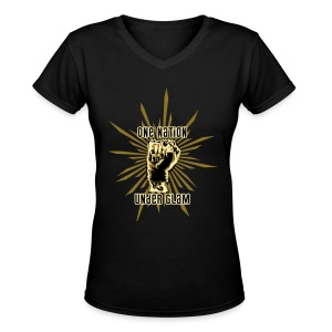 Propaganda-Gold - Women's V-Neck T-Shirt