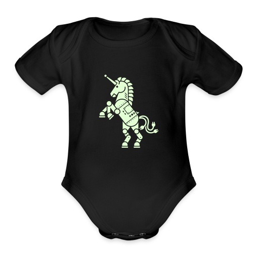 Robicorn Glow in the Dark - Pick a shirt color! - Organic Short Sleeve Baby Bodysuit