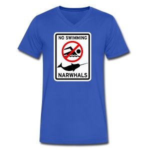 No Swimming Narwhals - Men's V-Neck T-Shirt by Canvas