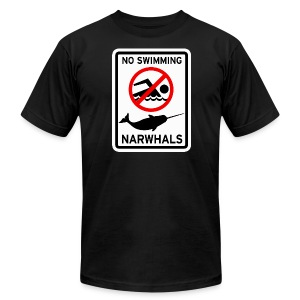 No Swimming Narwhals - Men's T-Shirt by American Apparel
