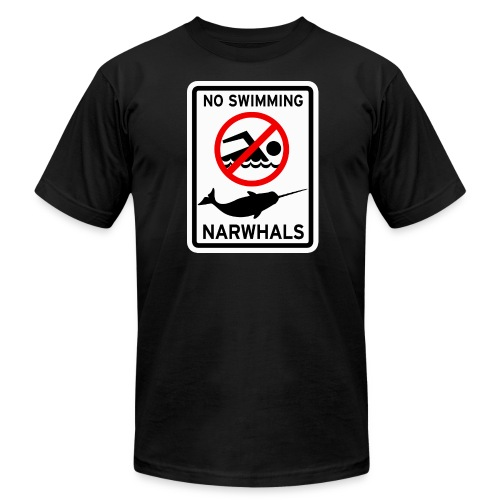 No Swimming Narwhals - Men's Fine Jersey T-Shirt