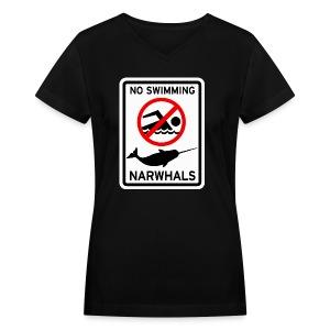 No Swimming Narwhals  - Women's V-Neck T-Shirt