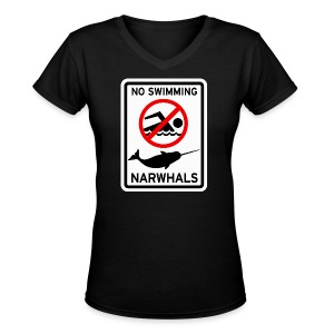 No Swimming Narwhals  - Women's V-Neck T-Shirt