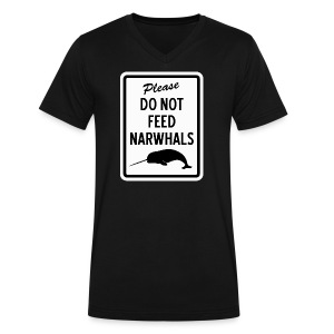 Do Not Feed Narwhals - Men's V-Neck T-Shirt by Canvas